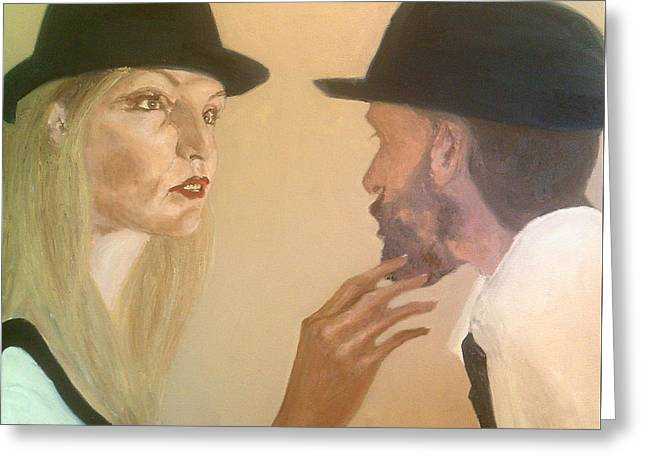 She Touches His Beard And Looks Greeting Card