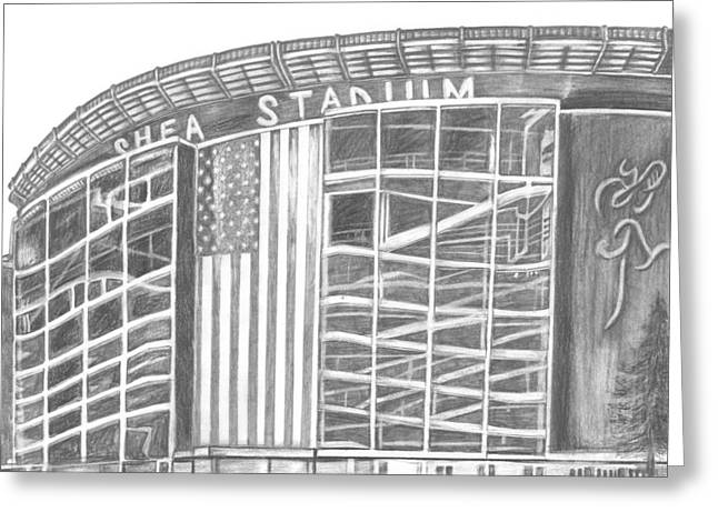 New York Stadiums Drawings Greeting Cards - Shea Stadium Greeting Card by Juliana Dube
