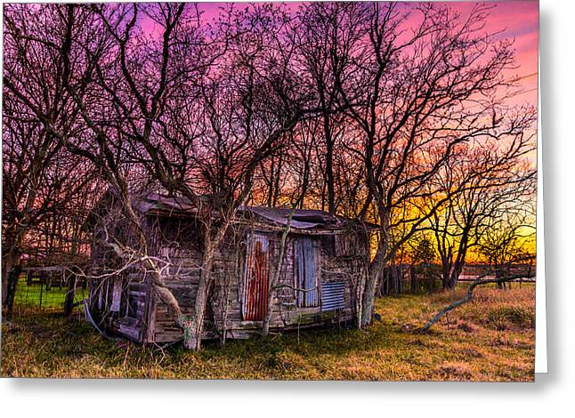 Shed And Sunset Greeting Card by Micah Goff