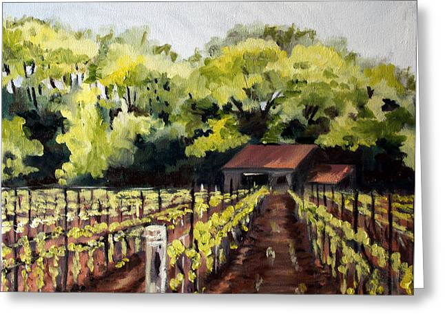 Vineyard Landscape Paintings Greeting Cards - Shed in a Vineyard Greeting Card by Sarah Lynch