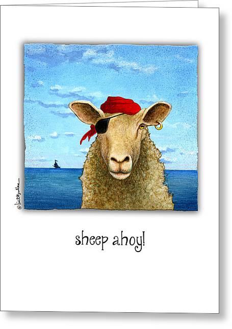Sheep Ahoy Greeting Card by Will Bullas