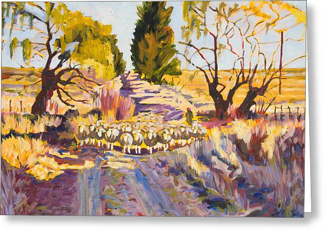 Sheep And Shepherd At Sunset Oil Painting Bertram Poole Greeting Card