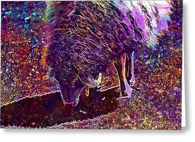 Greeting Card featuring the digital art Sheep Animal Animals Wool Meadow  by PixBreak Art