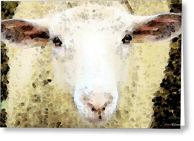 Sheep Art - Ewe Rang Greeting Card by Sharon Cummings