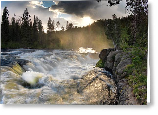 Moist Greeting Cards - Sheep Falls Sunset Greeting Card by Leland D Howard