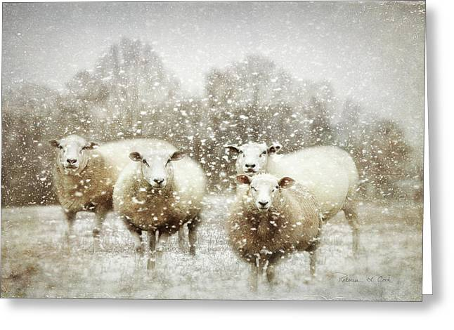 Greeting Card featuring the photograph Sheep Gathering In Snow by Bellesouth Studio