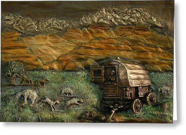 Dog Reliefs Greeting Cards - Sheep Herders Wagon from Snowy Range Life Greeting Card by Dawn Senior-Trask