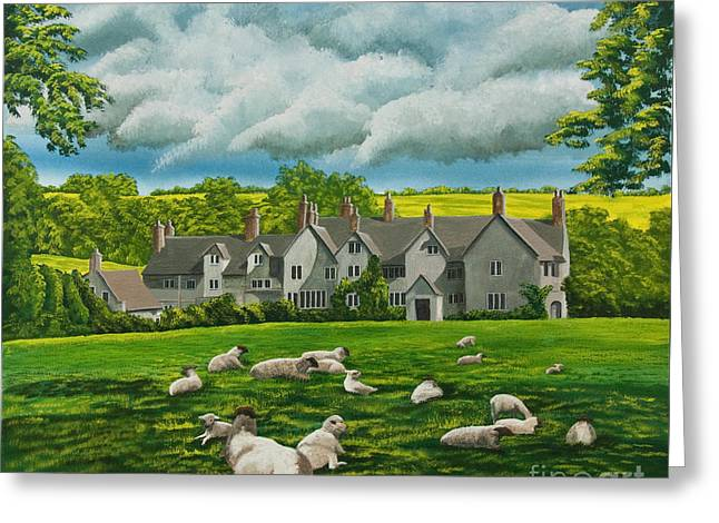 Sheep In Repose Greeting Card by Charlotte Blanchard