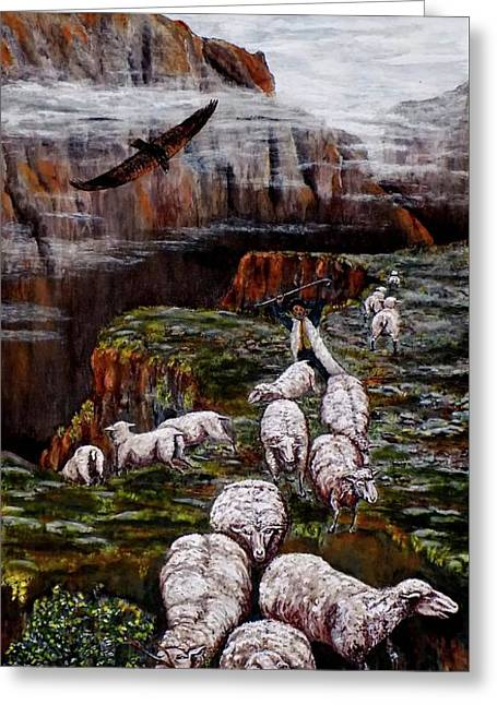 Sheep In The Mountains  Greeting Card
