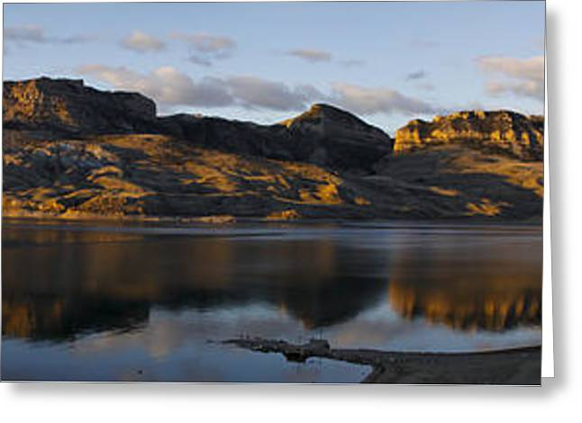 Sheep Mountain Sunrise - Panoramic-signed-12x55 Greeting Card by J L Woody Wooden