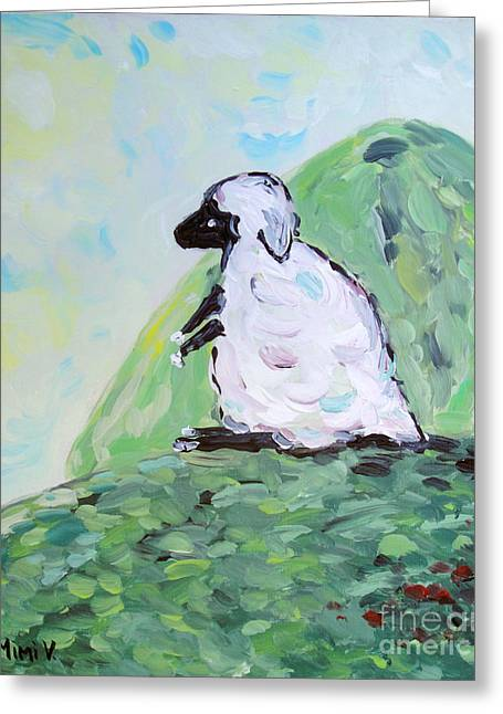 Greeting Card featuring the painting Sheep On A Hill by Maria Langgle
