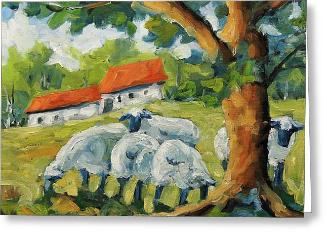 Sheep On The Farm Greeting Card by Richard T Pranke