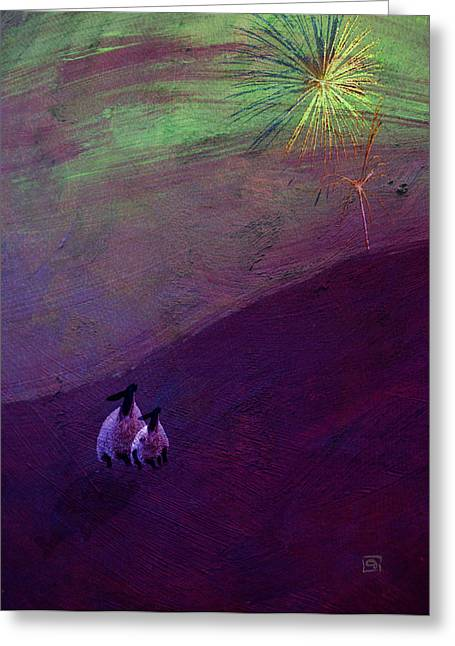 Greeting Card featuring the digital art Sheep Watch The Fireworks  by Jean Moore