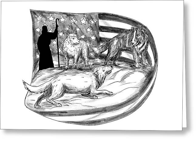 Sheepdog Protect Lamb From Wolf Tattoo Greeting Card