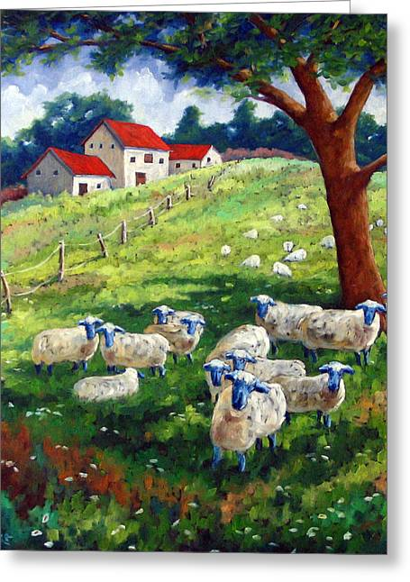 Sheeps In A Field Greeting Card by Richard T Pranke