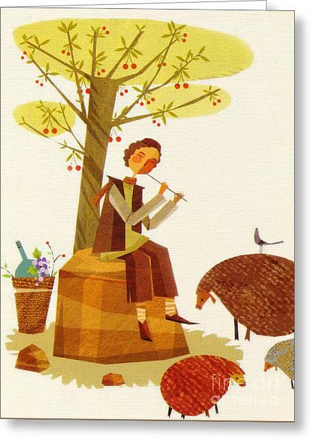 Sheeps Greeting Card by Sara