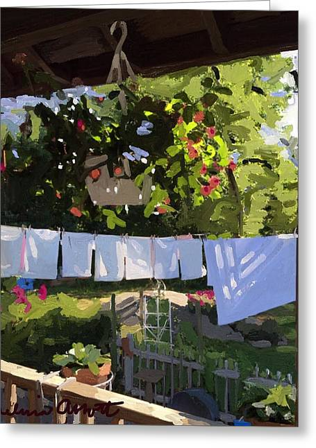 Sheets And Pillow Cases On The Line With Lantana Flowers Greeting Card