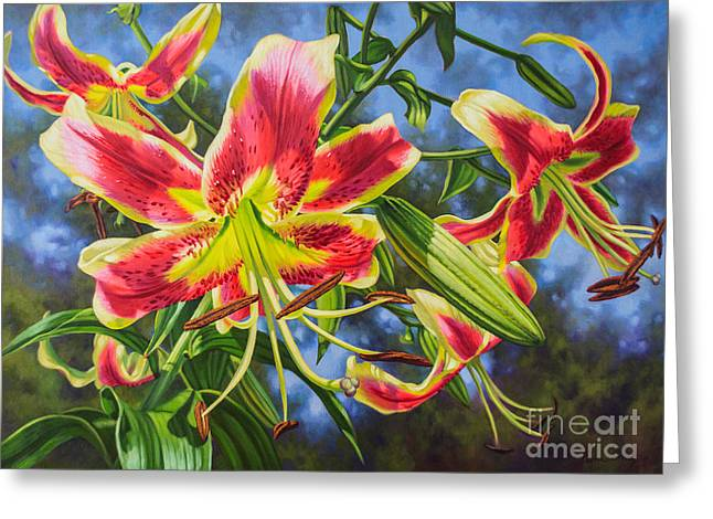 Chicago Botanic Garden Greeting Cards - Sheherazade Lilies 1 Greeting Card by Fiona Craig