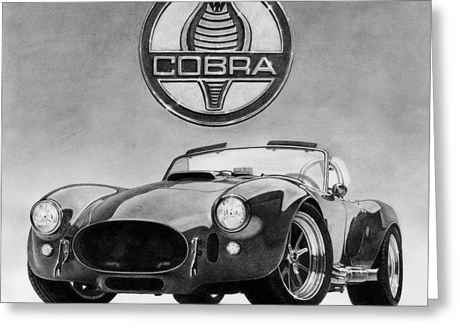Graphite Drawing Greeting Cards - Shelby Cobra Greeting Card by Tim Dangaran