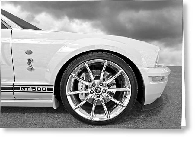Shelby Gt500 Wheel Black And White Greeting Card