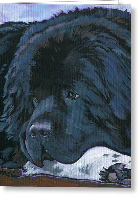 Greeting Card featuring the painting Shelby by Nadi Spencer
