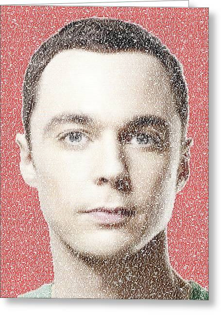 The Big Bang Greeting Cards - Sheldon Cooper Quotes Mosaic Greeting Card by Paul Van Scott