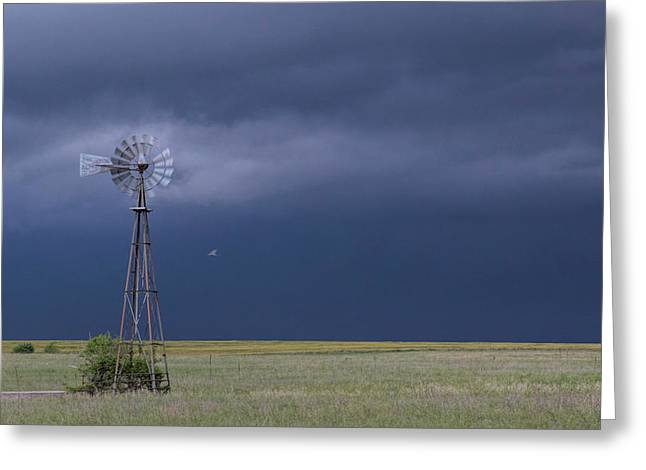 Shelf Cloud And Windmill -02 Greeting Card
