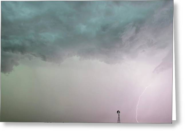Shelf Cloud And Windmill -05 Greeting Card