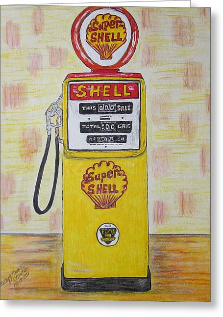 Greeting Card featuring the painting Shell Gas Pump by Kathy Marrs Chandler