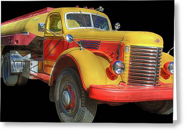 Shell Oil Tanker Greeting Card by Donna Kennedy