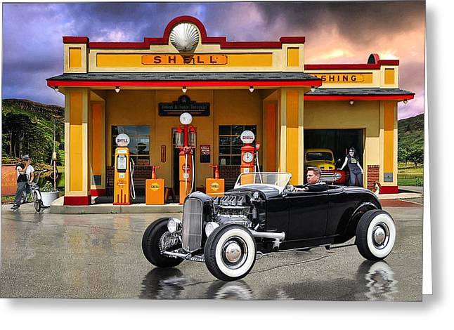 Shell Station .... Greeting Card by Rat Rod Studios