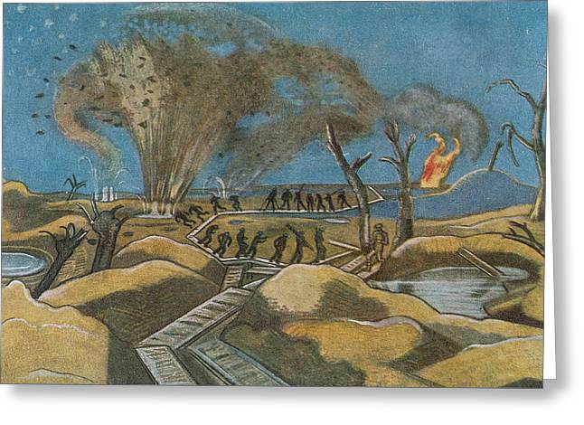 Shelling The Duckboards Greeting Card by Paul Nash