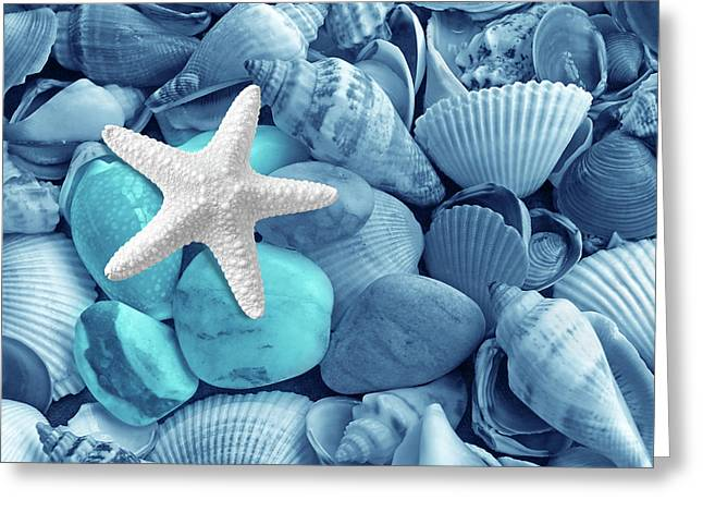 Shells And Pebbles In Shades Of Blue Greeting Card by Gill Billington
