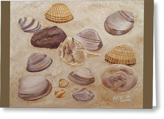 Greeting Card featuring the painting Shells And Stones by Angeles M Pomata