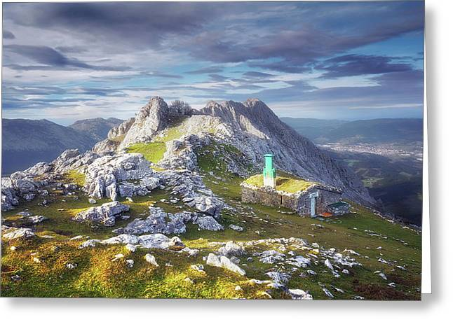 Shelter In The Top Of Urkiola Mountains Greeting Card
