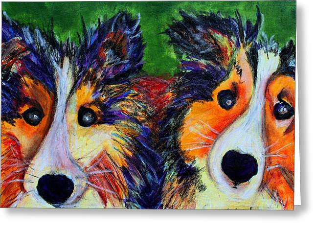 Greeting Card featuring the painting Sheltie- Whisper And Secret by Laura  Grisham