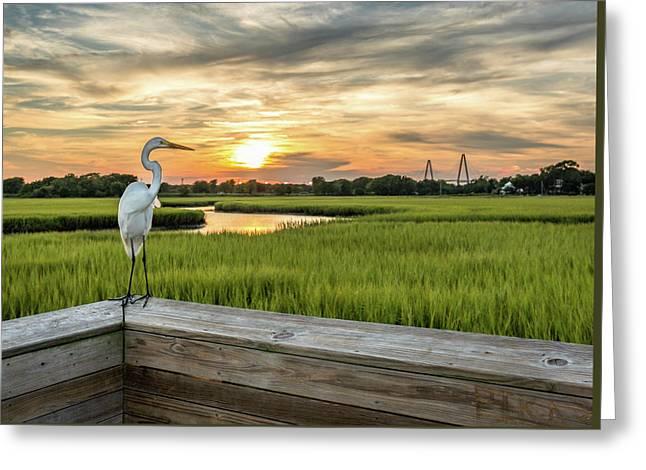 Shem Creek Pier Sunset Greeting Card