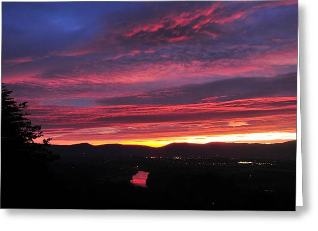 Greeting Card featuring the photograph Shenandoah Morning Glow by Lara Ellis