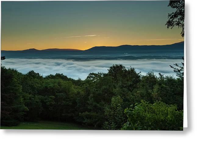 Shenandoah Sunrise Pre-dawn Glow Greeting Card by Lara Ellis