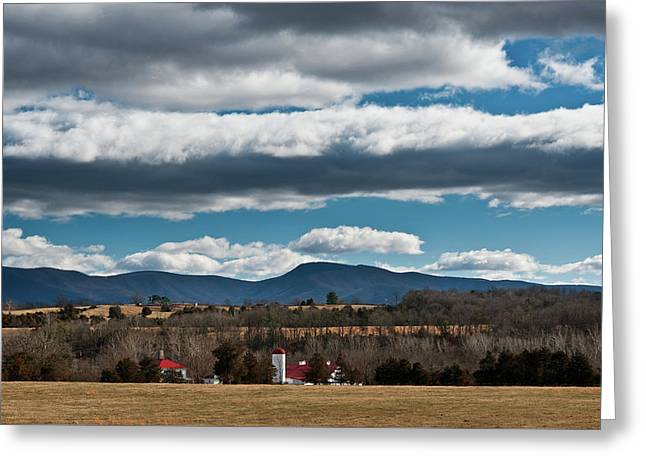 Greeting Card featuring the photograph Shenandoah Valley Farm Winter Skies by Lara Ellis