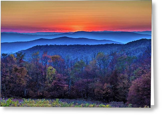 Greeting Card featuring the photograph  Shenandoah Valley Sunset by Louis Dallara