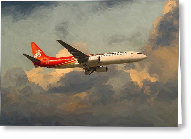Shenzhen Airlines B739 On Route Greeting Card by Nop Briex