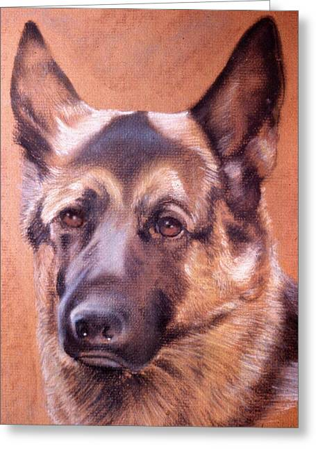 Greeting Card featuring the pastel Shepard by Harvie Brown