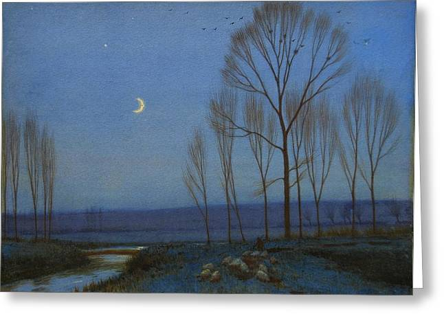 Shepherd And Sheep At Moonlight Greeting Card by OB Morgan