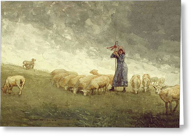 Shepherdess Tending Sheep Winslow Homer 1878 Greeting Card by Movie Poster Prints
