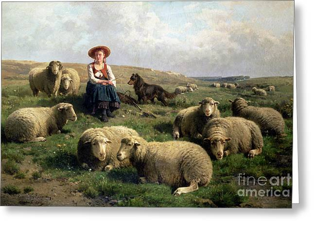 Hill Greeting Cards - Shepherdess with Sheep in a Landscape Greeting Card by C Leemputten and T Gerard