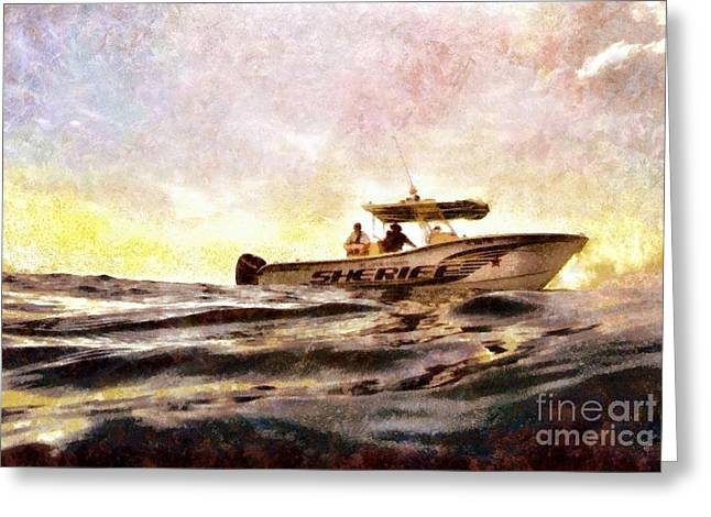 Sheriff At Sea - Florida Greeting Card by Janine Riley