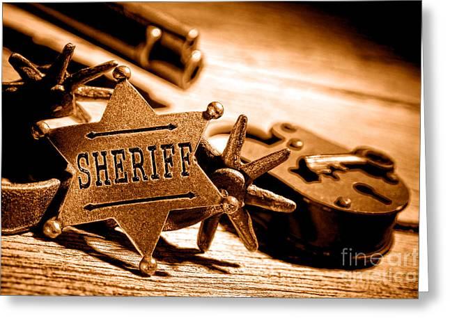 Sheriff Tools - Sepia Greeting Card