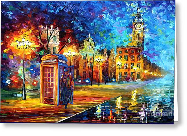 Sherlock Holmes And Big Ben Greeting Card by Lugu Poerawidjaja