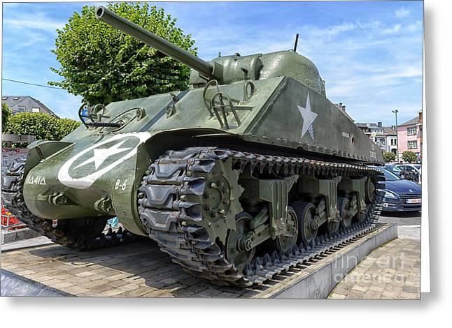 Sherman Tank In Bastogne, Belgium Greeting Card